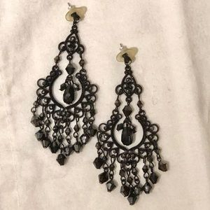 Tiered jet black earrings